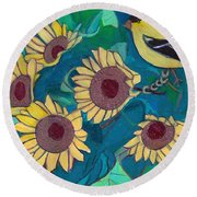 Round Beach Towel featuring the painting Five Golden Rings by Denise Weaver Ross