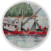 Five Miles Out Of Valdez Round Beach Towel