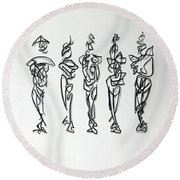 Five Muses Round Beach Towel