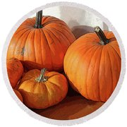 Five Pumpkins Round Beach Towel