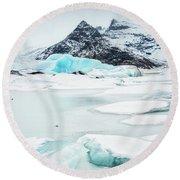 Round Beach Towel featuring the photograph Fjallsarlon Glacier Lagoon Iceland In Winter by Matthias Hauser
