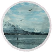 Fjord Landscape In The North Of Norway  Round Beach Towel by Tamara Sushko