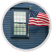 Round Beach Towel featuring the photograph Flag And Lace by Kenneth Campbell