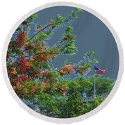 Flag And Shower Tree Round Beach Towel by Craig Wood