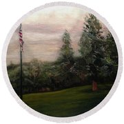 Flag Pole At Harborview Park Round Beach Towel