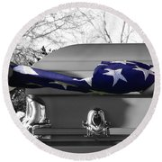 Flag For The Fallen - Selective Color Round Beach Towel