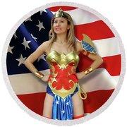 Flag Heroine Round Beach Towel
