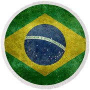 Flag Of Brazil Vintage 18x24 Crop Version Round Beach Towel