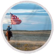 Flag Of Freedom Round Beach Towel
