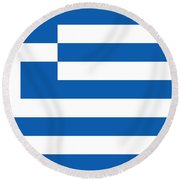 Round Beach Towel featuring the photograph Flag Of Greece by Robert Banach