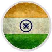Flag Of India Vintage 18x24 Crop Version Round Beach Towel