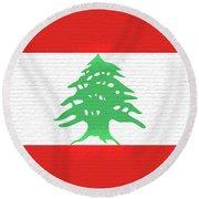 Flag Of Lebanon Wall Round Beach Towel
