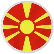 Round Beach Towel featuring the digital art Flag Of Macedonia by Bruce Stanfield