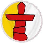 Flag Of Nunavut High Quality Authentic Hd Version Round Beach Towel