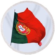Round Beach Towel featuring the photograph Flag Of Portugal by Menega Sabidussi