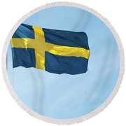 Flag Of Sweden In The Blue Sky Round Beach Towel