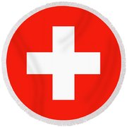 Round Beach Towel featuring the digital art Flag Of Switzerland by Bruce Stanfield