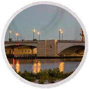 Flagler Bridge In Lights Panorama Round Beach Towel