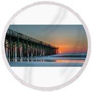 Flagler Pier Sunrise Round Beach Towel