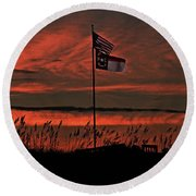 Flags And Sea Oats Round Beach Towel