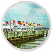 Flags At The Pier Round Beach Towel