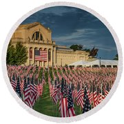 Flags Of Valor On Art Hill Round Beach Towel
