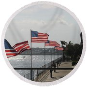 Flags On The Inlet Boardwalk Round Beach Towel