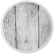 Flaking Grey Wood Paint Round Beach Towel by John Williams