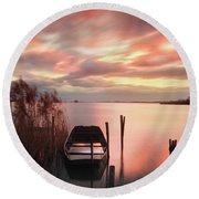 Round Beach Towel featuring the photograph Flame In The Darkness by Davor Zerjav