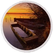Round Beach Towel featuring the photograph Flame Of Dawn by Davor Zerjav