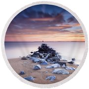 Round Beach Towel featuring the photograph Flame On The Horizon by Edward Kreis