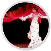 Flameco Dancer With Swirling Red Scarf Round Beach Towel