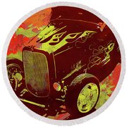Flamed 1932 Ford Roadster Hot Rod Pop Red Round Beach Towel