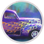 Flamed 1940 Ford Round Beach Towel