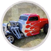 Flamed Pickup Round Beach Towel
