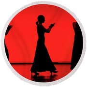 Flamenco Red An Black Spanish Passion For Dance And Rithm Round Beach Towel