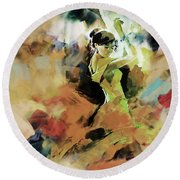 Round Beach Towel featuring the painting Flamenco 56y3 by Gull G