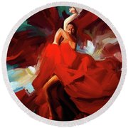 Round Beach Towel featuring the painting Flamenco Dance 7750 by Gull G