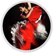 Flamenco Dancer - 01 Round Beach Towel