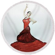 Round Beach Towel featuring the painting Flamenco Dancer by Edwin Alverio