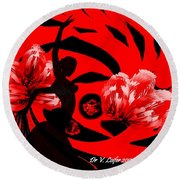 Flamenco-fairy Dance Round Beach Towel by Dr Loifer Vladimir