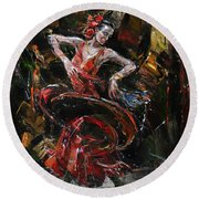 Flamenco II Round Beach Towel
