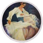 Flamenco In White Round Beach Towel