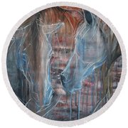 Round Beach Towel featuring the painting Flamenco by Jani Freimann