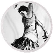 Flamenco Sketch 2 Round Beach Towel
