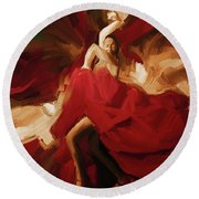Round Beach Towel featuring the painting Flamenco Spanish Dance Painting 01 by Gull G
