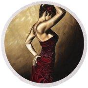 Flamenco Woman Round Beach Towel