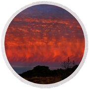 Flames Over The Pacific  Round Beach Towel