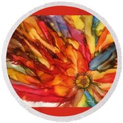 Burst Round Beach Towel by Pat Purdy