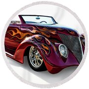 Flamin' Red Roadster Round Beach Towel